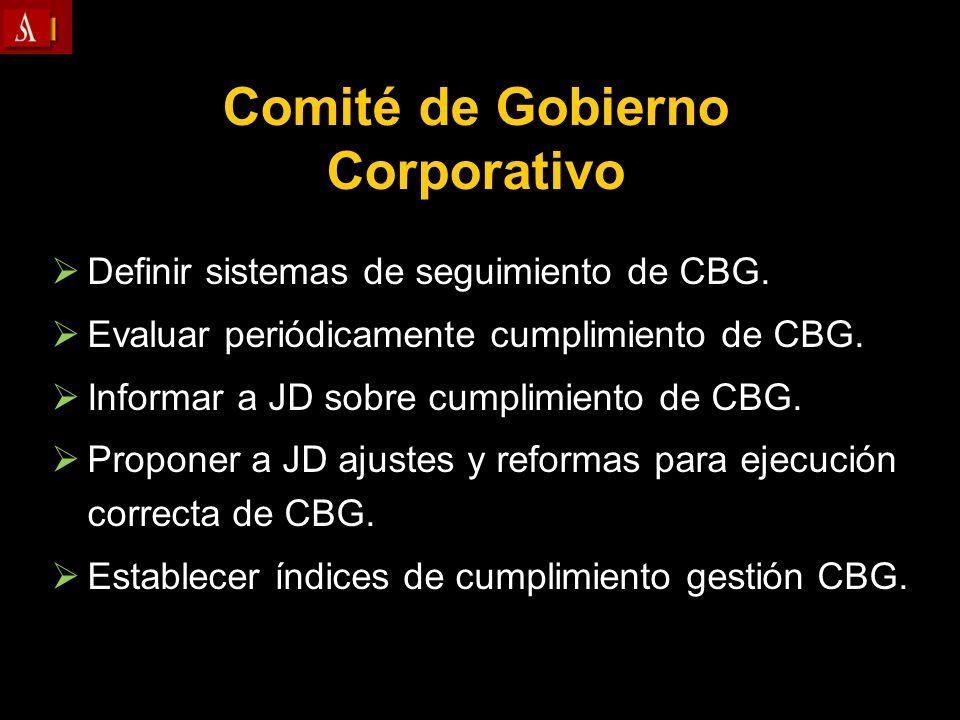 Comité de Gobierno Corporativo Definir sistemas de seguimiento de CBG. Evaluar periódicamente cumplimiento de CBG. Informar a JD sobre cumplimiento de