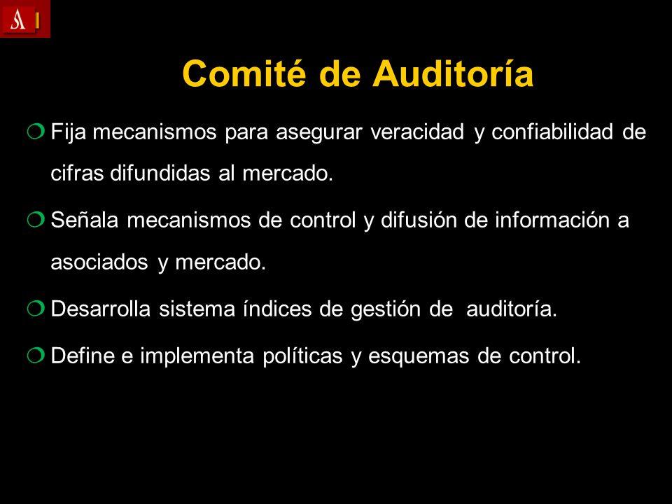Comité de Auditoría Fija mecanismos para asegurar veracidad y confiabilidad de cifras difundidas al mercado. Señala mecanismos de control y difusión d