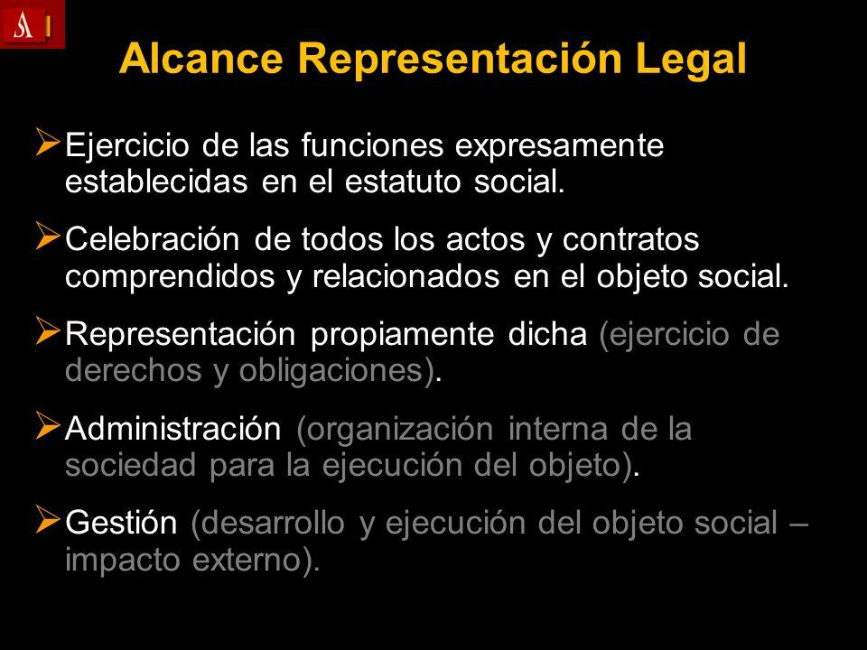 Alcance Representación Legal Ejercicio de las funciones expresamente establecidas en el estatuto social. Celebración de todos los actos y contratos co