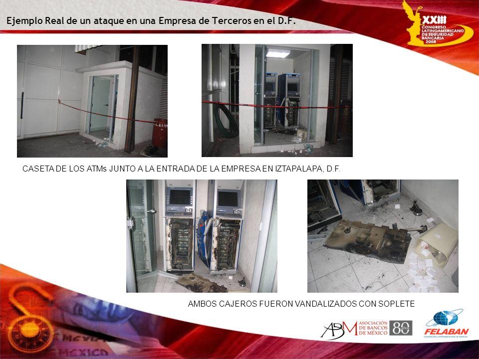 Ejemplo Real de un ataque en una Empresa de Terceros en el D.F. CASETA DE LOS ATMs JUNTO A LA ENTRADA DE LA EMPRESA EN IZTAPALAPA, D.F. AMBOS CAJEROS