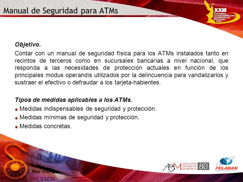 Manual de Seguridad para ATMs Objetivo. Contar con un manual de seguridad física para los ATMs instalados tanto en recintos de terceros como en sucurs