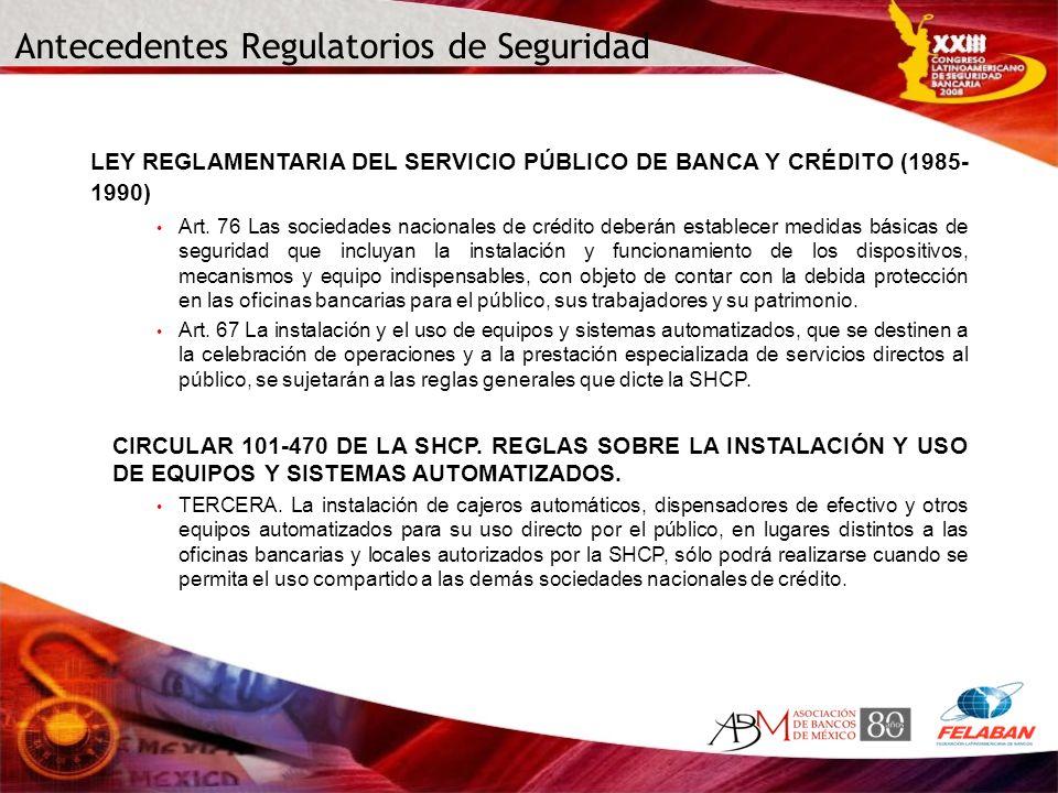 Antecedentes Regulatorios de Seguridad LEY REGLAMENTARIA DEL SERVICIO PÚBLICO DE BANCA Y CRÉDITO (1985- 1990) Art. 76 Las sociedades nacionales de cré