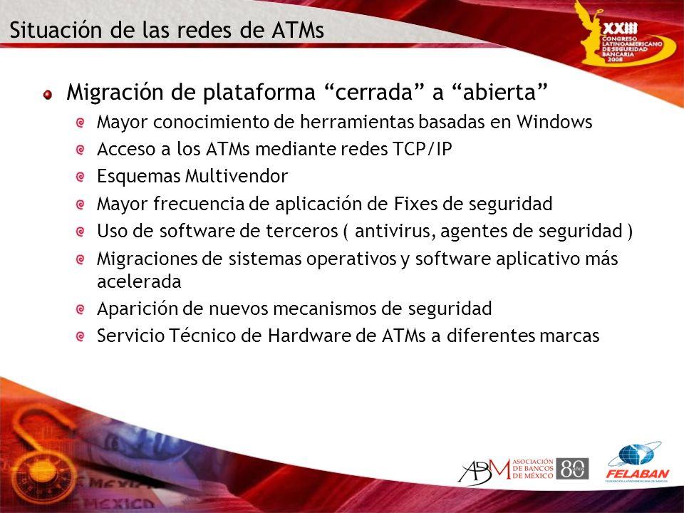 Situación de las redes de ATMs Migración de plataforma cerrada a abierta Mayor conocimiento de herramientas basadas en Windows Acceso a los ATMs media