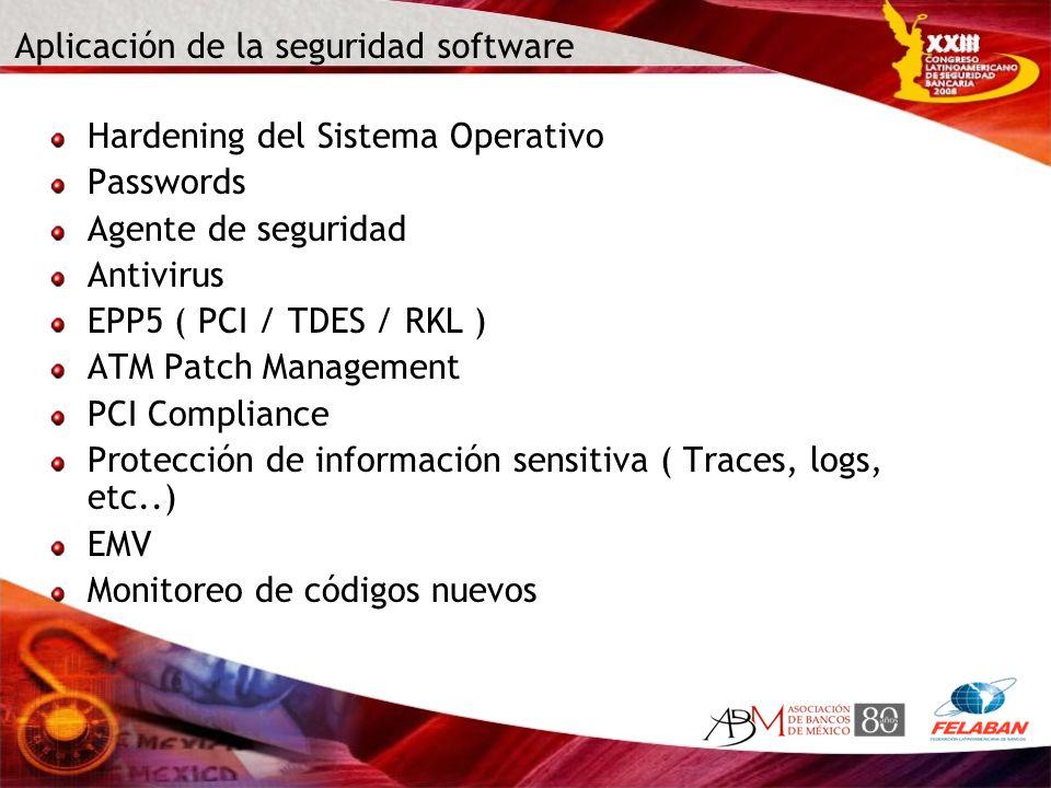 Aplicación de la seguridad software Hardening del Sistema Operativo Passwords Agente de seguridad Antivirus EPP5 ( PCI / TDES / RKL ) ATM Patch Manage