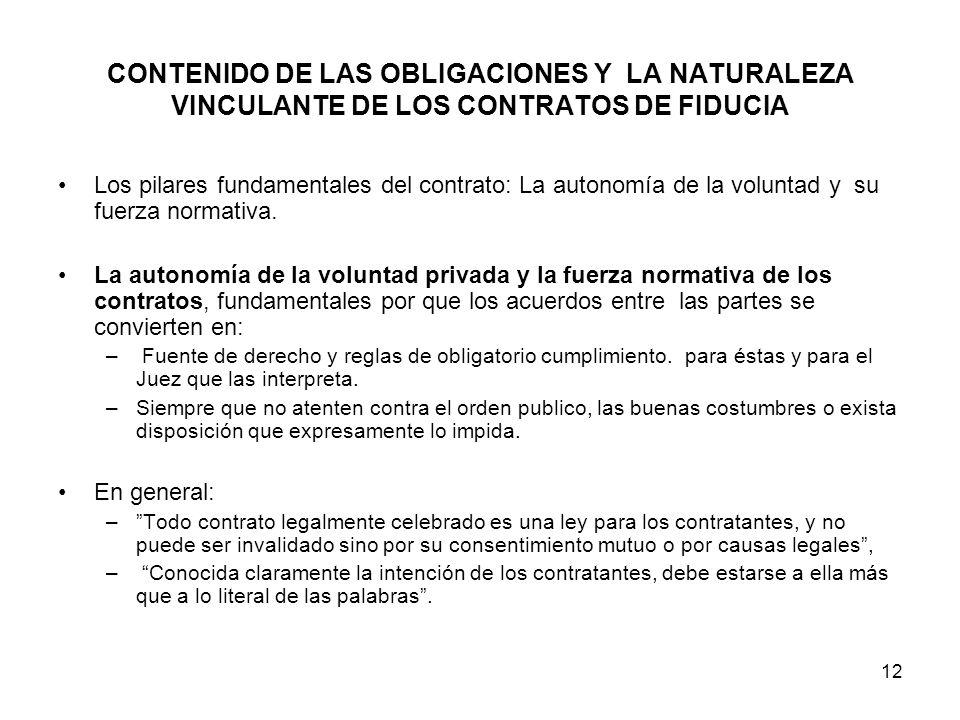 12 CONTENIDO DE LAS OBLIGACIONES Y LA NATURALEZA VINCULANTE DE LOS CONTRATOS DE FIDUCIA Los pilares fundamentales del contrato: La autonomía de la vol