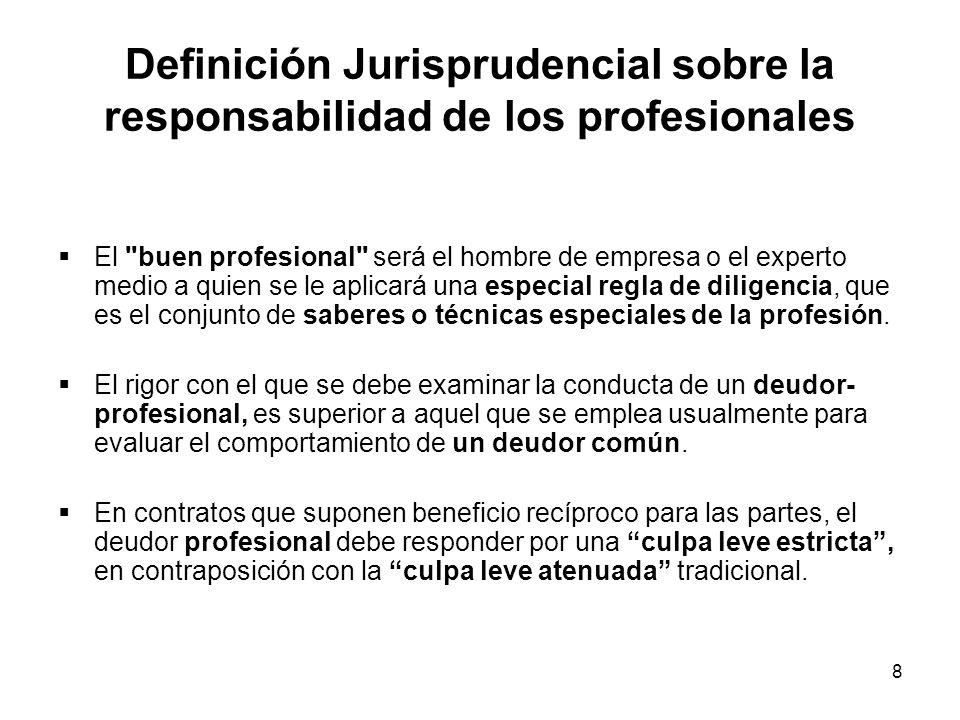8 Definición Jurisprudencial sobre la responsabilidad de los profesionales El