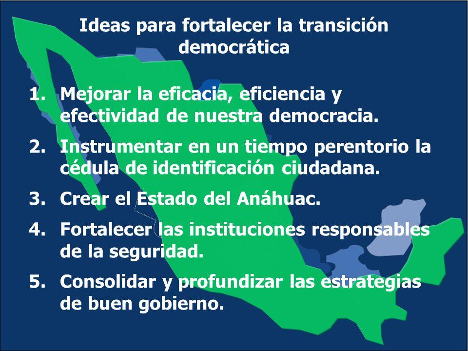 Ideas para fortalecer la transición democrática 1.Mejorar la eficacia, eficiencia y efectividad de nuestra democracia.