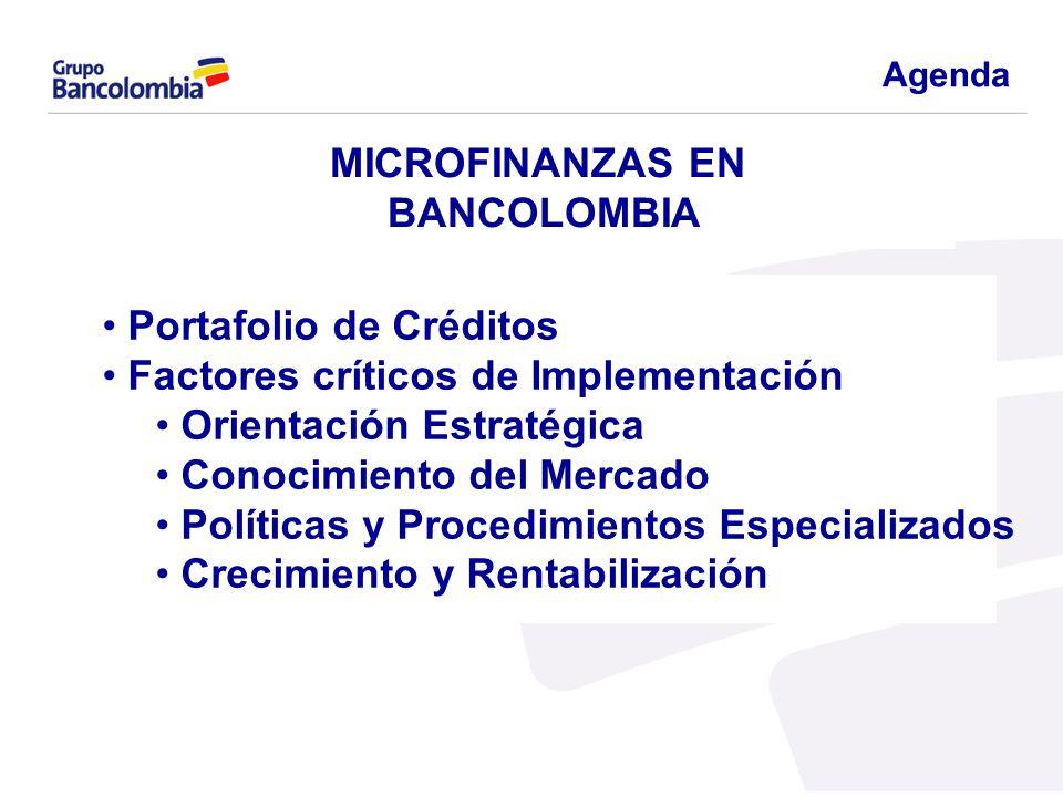 MICROFINANZAS EN BANCOLOMBIA Portafolio de Créditos Factores críticos de Implementación Orientación Estratégica Conocimiento del Mercado Políticas y P