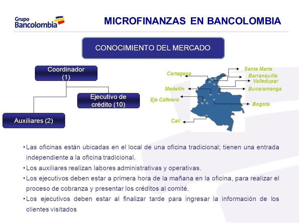 Coordinador (1) Ejecutivo de crédito (10) Auxiliares (2) Las oficinas están ubicadas en el local de una oficina tradicional; tienen una entrada indepe