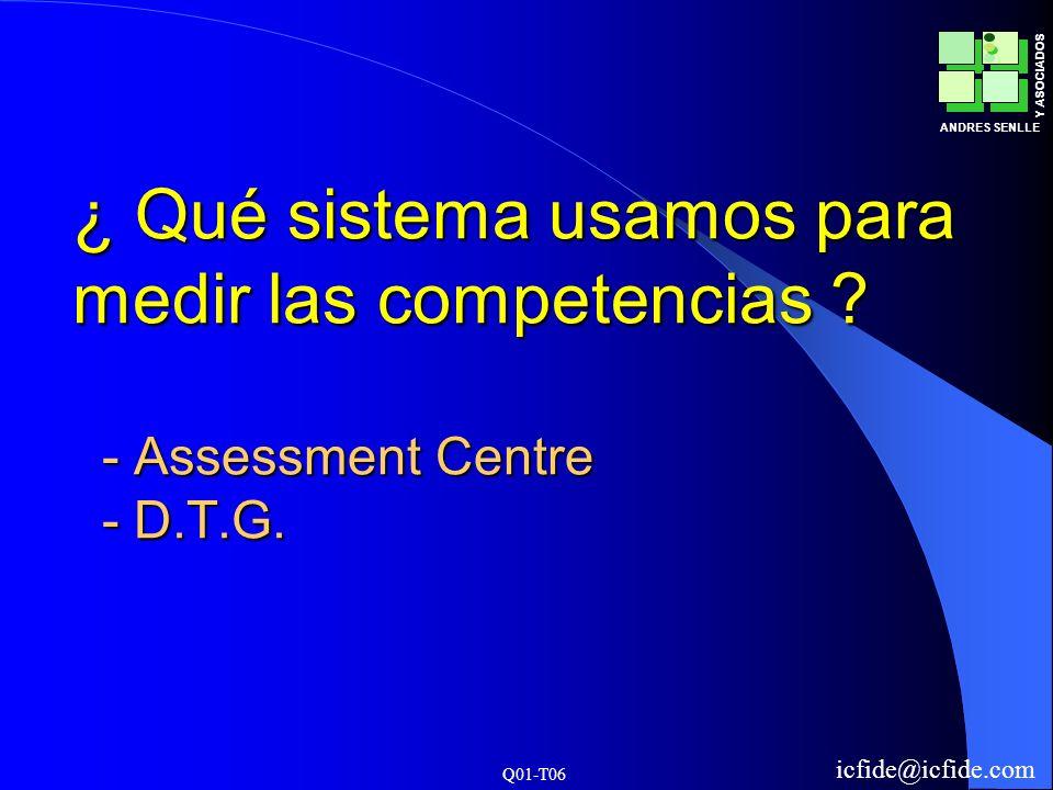 Q01-T06 ANDRES SENLLE Y ASOCIADOS icfide@icfide.com ¿ Qué sistema usamos para medir las competencias ? - Assessment Centre - D.T.G.