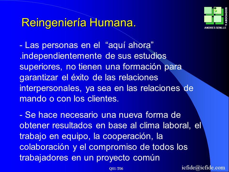 Q01-T06 ANDRES SENLLE Y ASOCIADOS icfide@icfide.com Reingeniería Humana. - Las personas en el aquí ahora.independientemente de sus estudios superiores