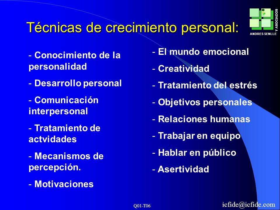 Q01-T06 ANDRES SENLLE Y ASOCIADOS icfide@icfide.com Técnicas de crecimiento personal: - Conocimiento de la personalidad - Desarrollo personal - Comuni