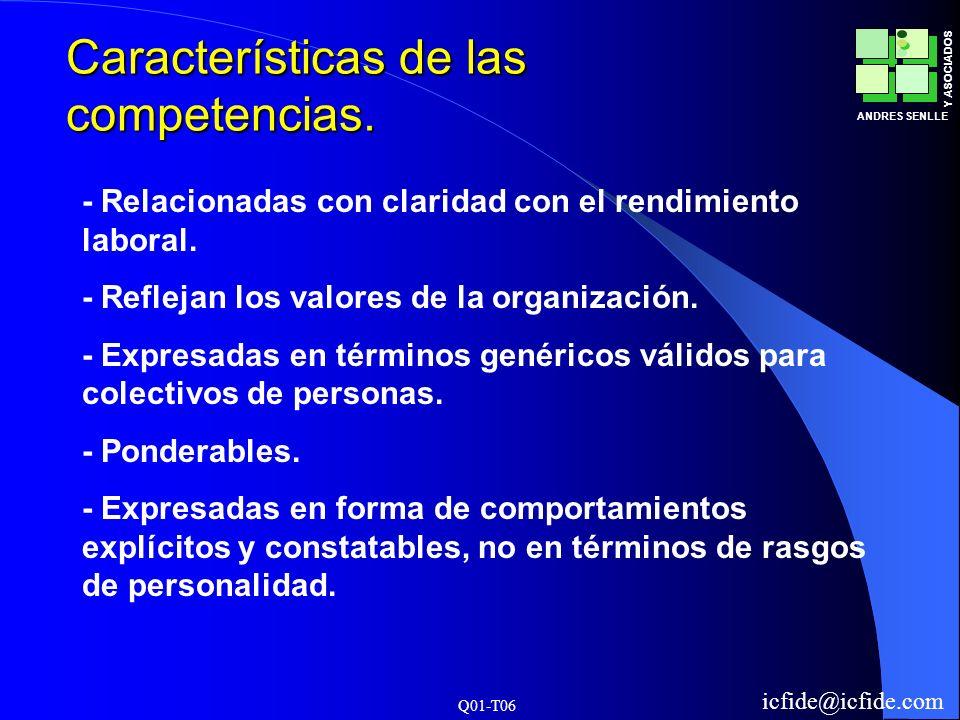 Q01-T06 ANDRES SENLLE Y ASOCIADOS icfide@icfide.com Características de las competencias. - Relacionadas con claridad con el rendimiento laboral. - Ref