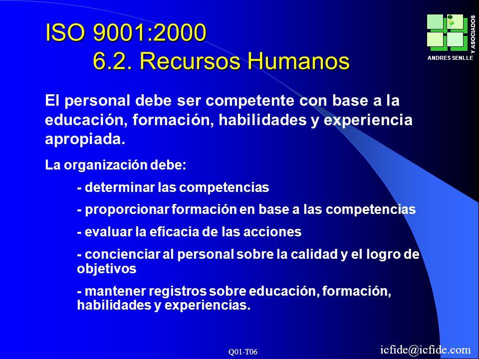 Q01-T06 ANDRES SENLLE Y ASOCIADOS icfide@icfide.com ISO 9001:2000 6.2. Recursos Humanos La organización debe: - determinar las competencias - proporci