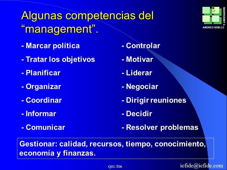 Q01-T06 ANDRES SENLLE Y ASOCIADOS icfide@icfide.com Algunas competencias del management. - Marcar política - Tratar los objetivos - Planificar - Organ
