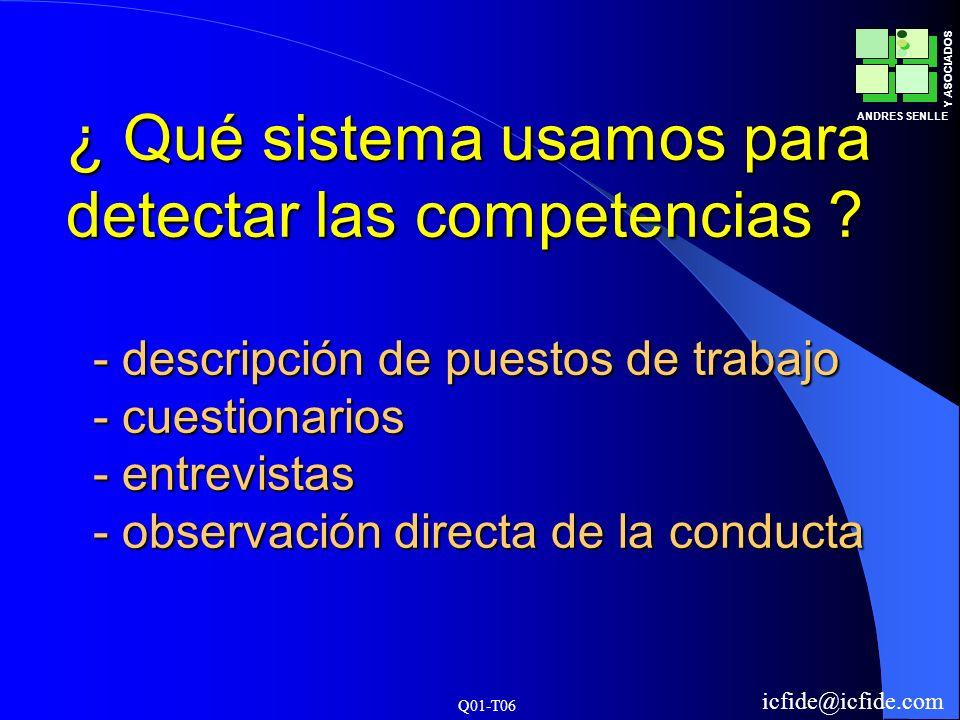 Q01-T06 ANDRES SENLLE Y ASOCIADOS icfide@icfide.com ¿ Qué sistema usamos para detectar las competencias ? - descripción de puestos de trabajo - cuesti