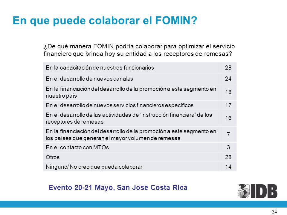 34 ¿De qué manera FOMIN podría colaborar para optimizar el servicio financiero que brinda hoy su entidad a los receptores de remesas.