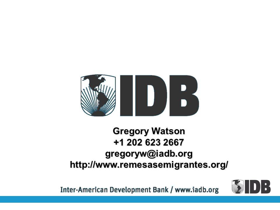 Gregory Watson +1 202 623 2667 gregoryw@iadb.orghttp://www.remesasemigrantes.org/