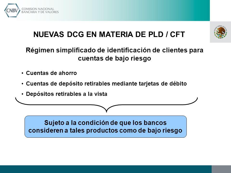 NUEVAS DCG EN MATERIA DE PLD / CFT Régimen simplificado de identificación de clientes para cuentas de bajo riesgo Cuentas de ahorro Cuentas de depósit