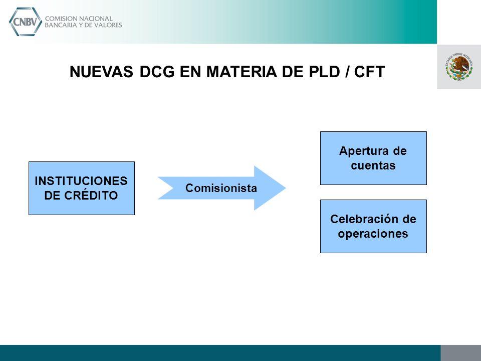 NUEVAS DCG EN MATERIA DE PLD / CFT INSTITUCIONES DE CRÉDITO Apertura de cuentas Celebración de operaciones Comisionista