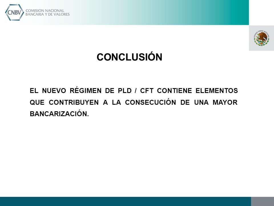 CONCLUSIÓN EL NUEVO RÉGIMEN DE PLD / CFT CONTIENE ELEMENTOS QUE CONTRIBUYEN A LA CONSECUCIÓN DE UNA MAYOR BANCARIZACIÓN.
