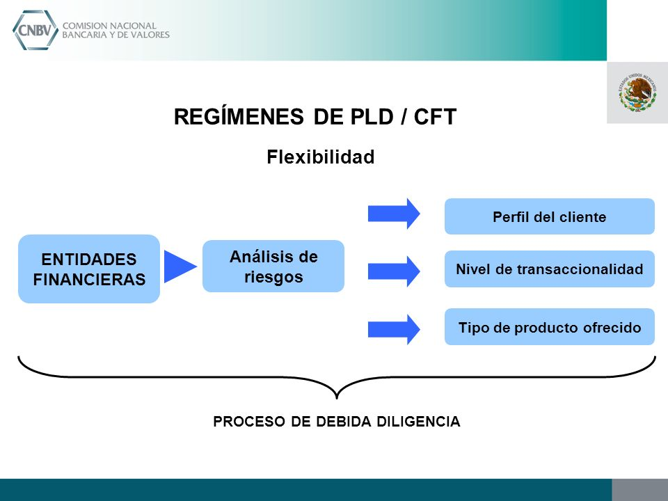 REGÍMENES DE PLD / CFT ENTIDADES FINANCIERAS Perfil del cliente Nivel de transaccionalidad Análisis de riesgos Tipo de producto ofrecido Flexibilidad