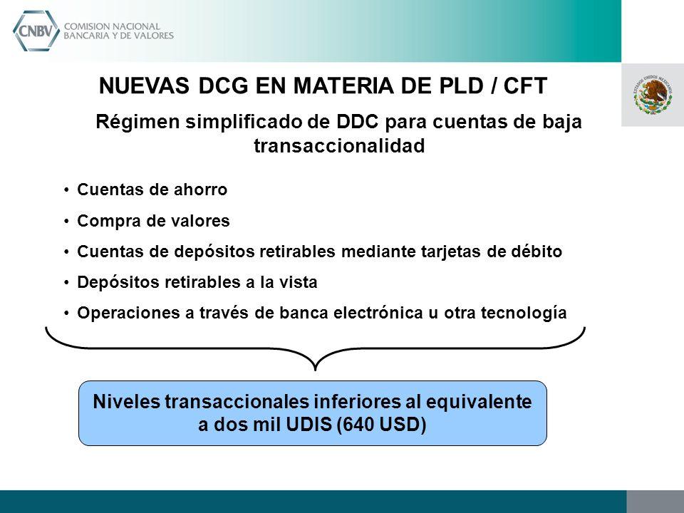 NUEVAS DCG EN MATERIA DE PLD / CFT Régimen simplificado de DDC para cuentas de baja transaccionalidad Cuentas de ahorro Compra de valores Cuentas de d