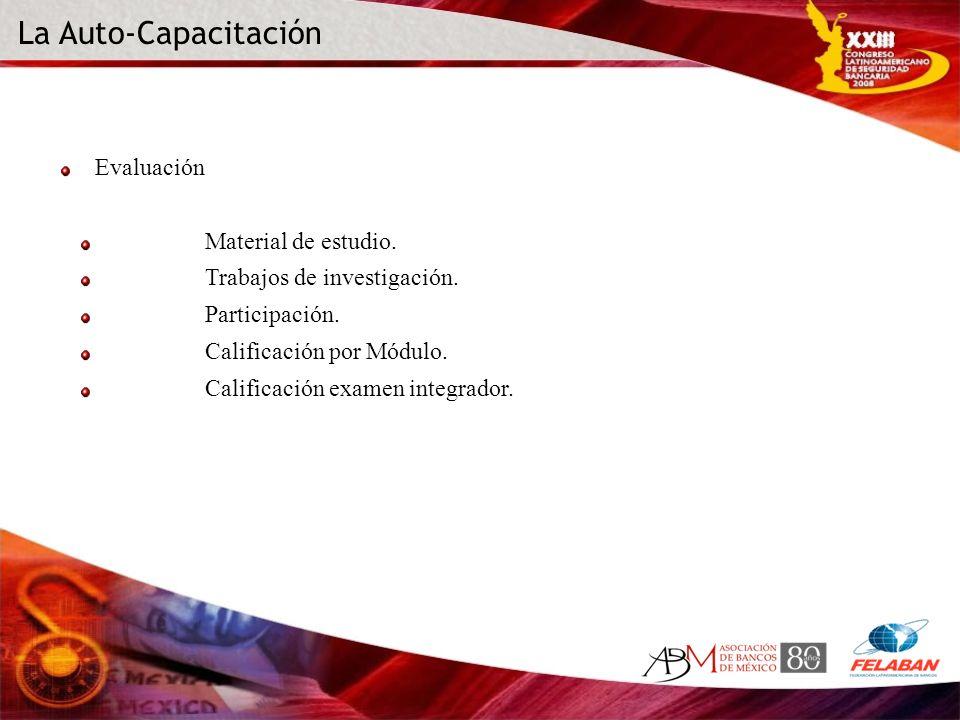 Evaluación Material de estudio. Trabajos de investigación. Participación. Calificación por Módulo. Calificación examen integrador.