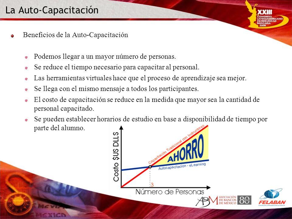 La Auto-Capacitación Beneficios de la Auto-Capacitación Podemos llegar a un mayor número de personas. Se reduce el tiempo necesario para capacitar al