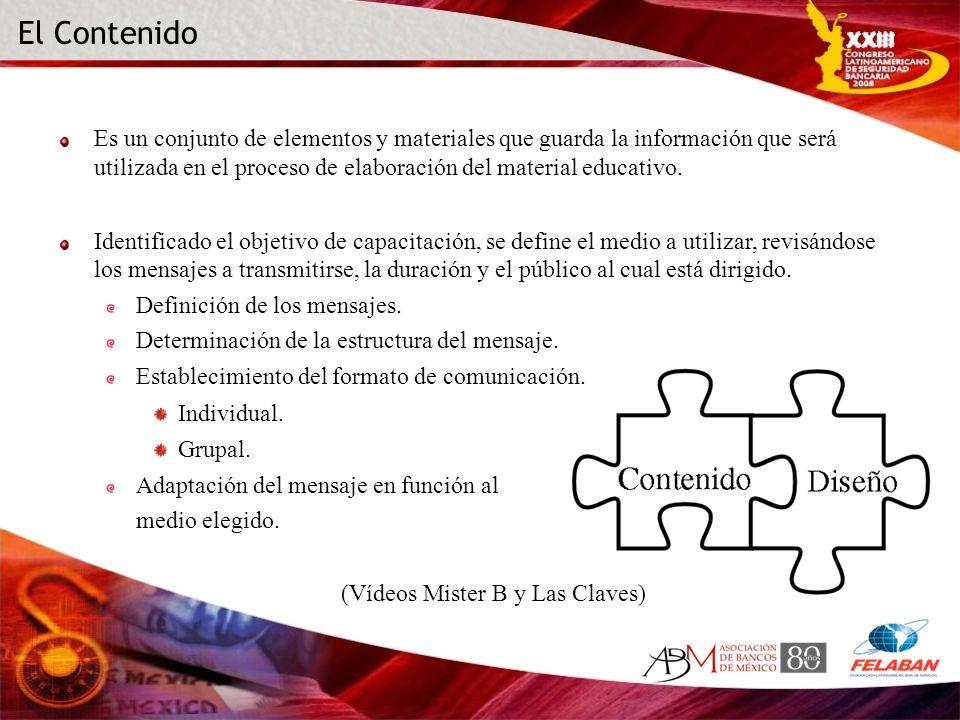 Es un conjunto de elementos y materiales que guarda la información que será utilizada en el proceso de elaboración del material educativo. Identificad