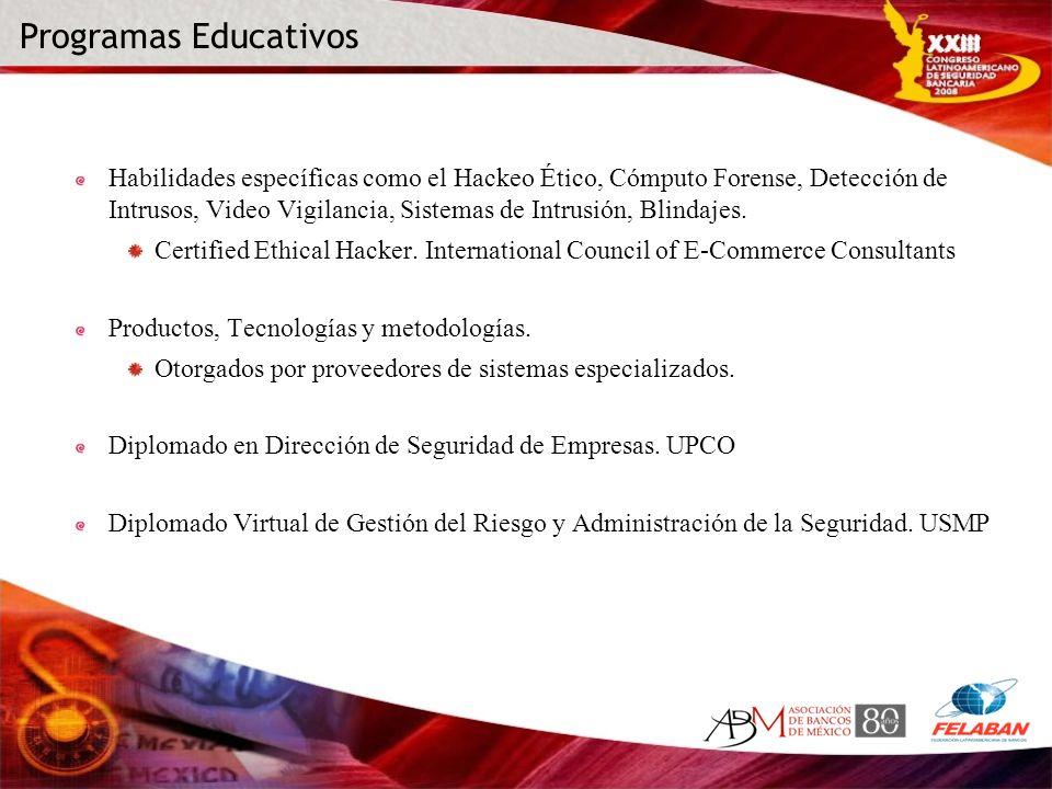 Programas Educativos Habilidades específicas como el Hackeo Ético, Cómputo Forense, Detección de Intrusos, Video Vigilancia, Sistemas de Intrusión, Bl