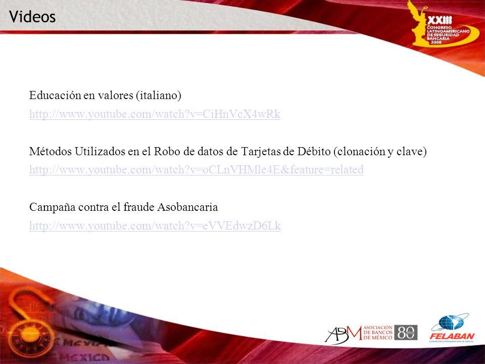 Educación en valores (italiano) http://www.youtube.com/watch?v=CiHnVcX4wRk Métodos Utilizados en el Robo de datos de Tarjetas de Débito (clonación y c