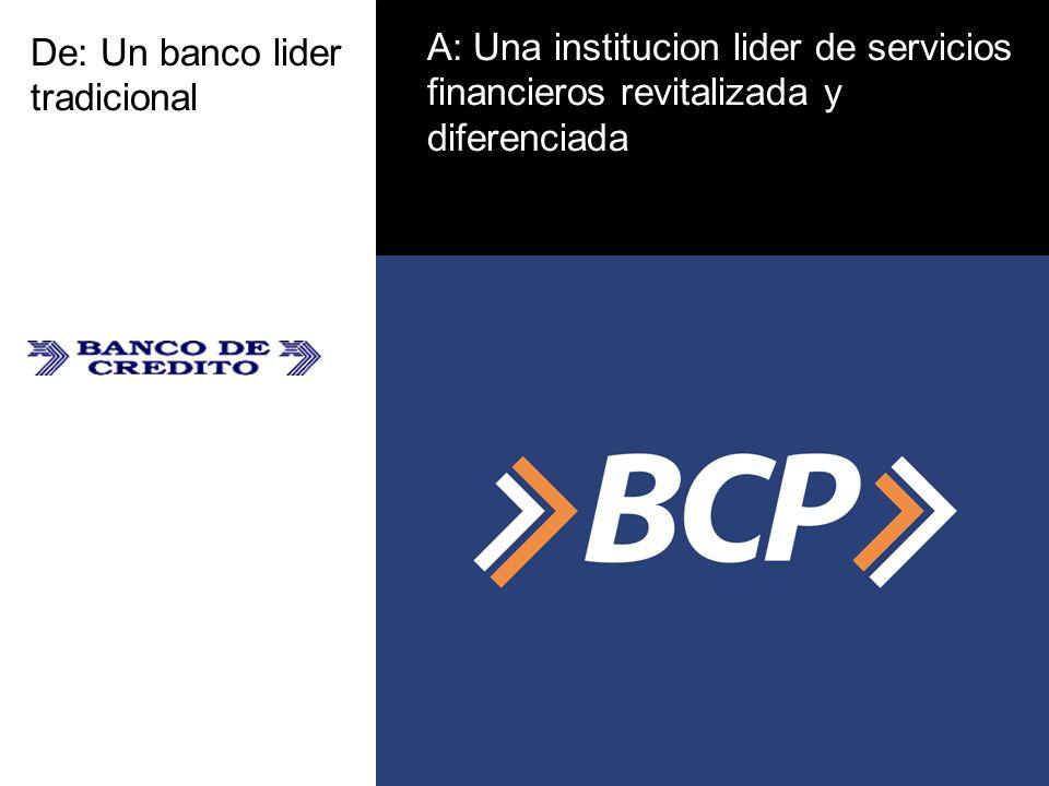 De: Un banco lider tradicional A: Una institucion lider de servicios financieros revitalizada y diferenciada