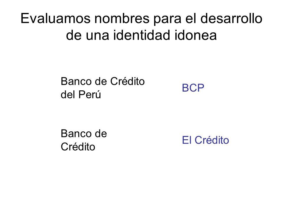 Evaluamos nombres para el desarrollo de una identidad idonea Banco de Crédito del Perú Banco de Crédito El Crédito BCP