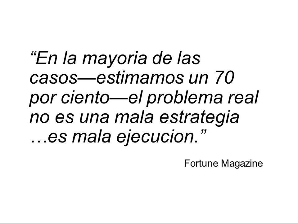 En la mayoria de las casosestimamos un 70 por cientoel problema real no es una mala estrategia …es mala ejecucion. Fortune Magazine