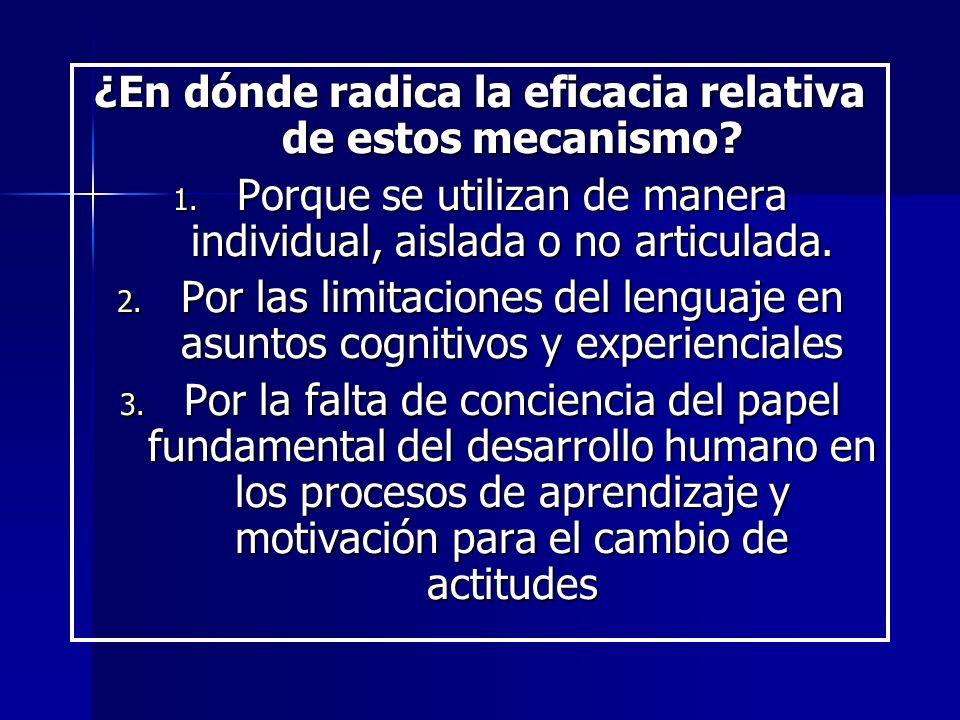¿En dónde radica la eficacia relativa de estos mecanismo? 1. Porque se utilizan de manera individual, aislada o no articulada. 2. Por las limitaciones
