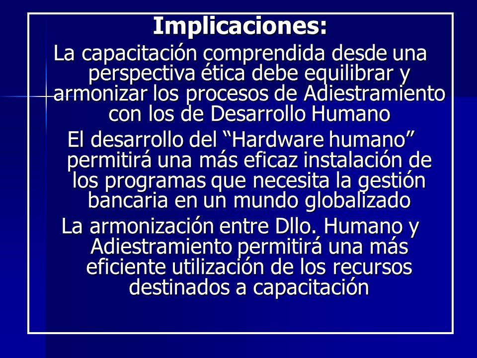 Implicaciones: La capacitación comprendida desde una perspectiva ética debe equilibrar y armonizar los procesos de Adiestramiento con los de Desarroll