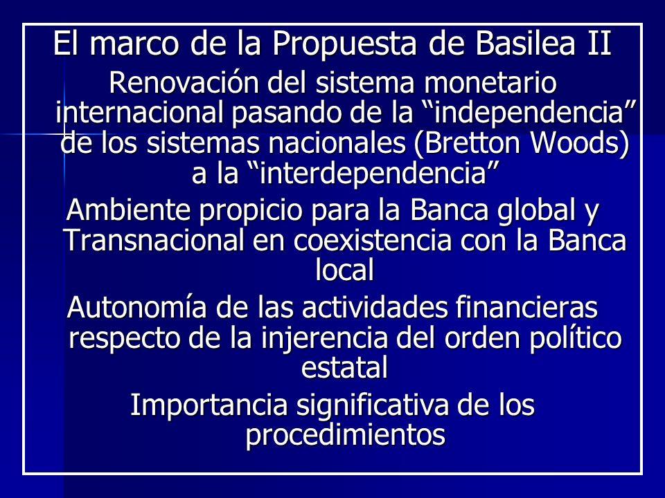 El marco de la Propuesta de Basilea II Renovación del sistema monetario internacional pasando de la independencia de los sistemas nacionales (Bretton