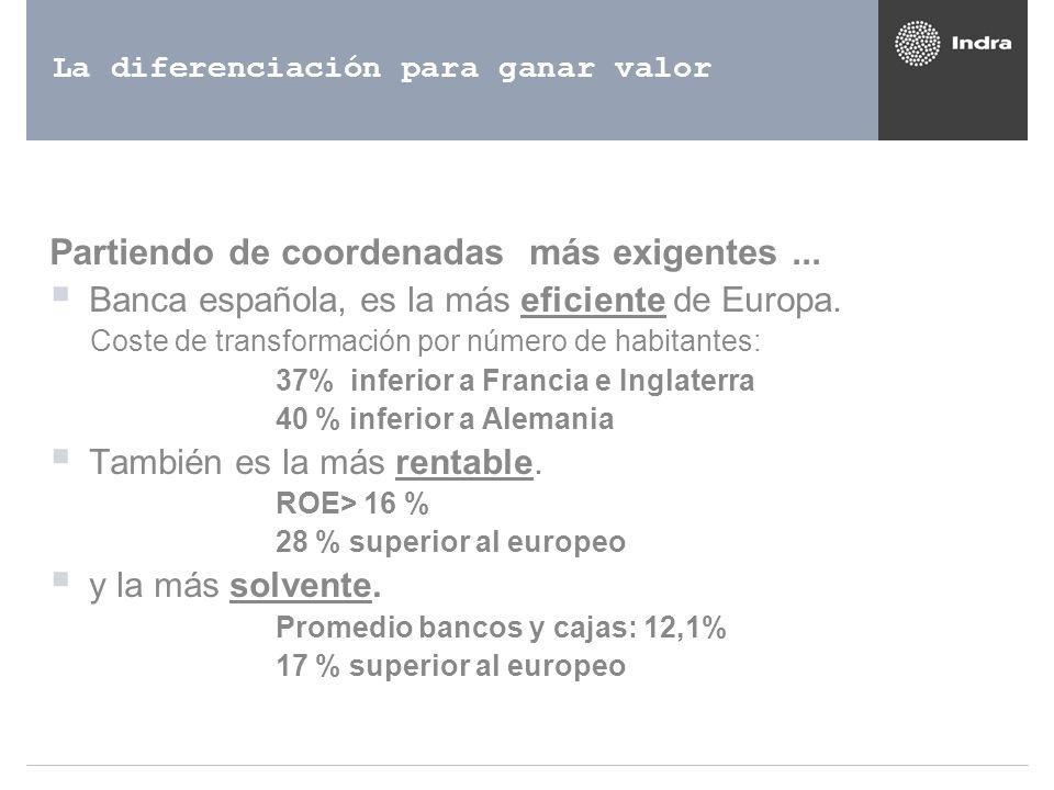 La diferenciación para ganar valor Partiendo de coordenadas más exigentes... Banca española, es la más eficiente de Europa. Coste de transformación po