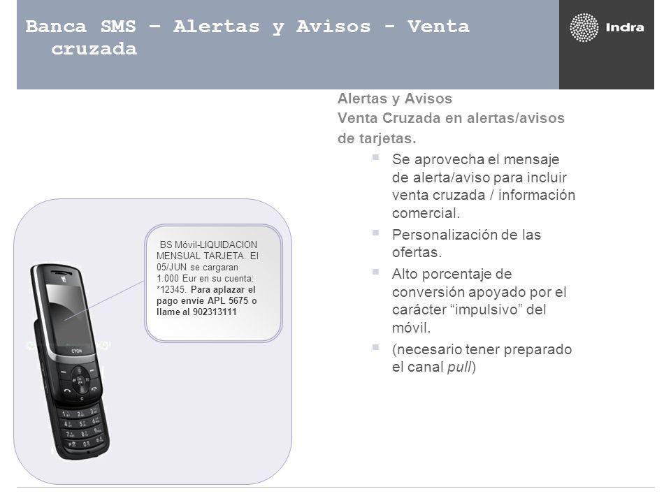 Banca SMS – Alertas y Avisos - Venta cruzada BS Móvil-LIQUIDACION MENSUAL TARJETA. El 05/JUN se cargaran 1.000 Eur en su cuenta: *12345. Para aplazar