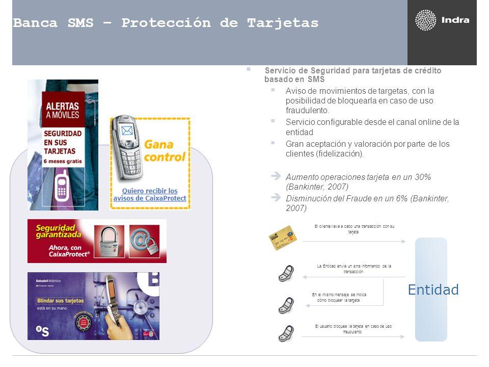 Banca SMS – Protección de Tarjetas Servicio de Seguridad para tarjetas de crédito basado en SMS Aviso de movimientos de targetas, con la posibilidad d