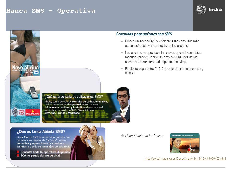 Banca SMS - Operativa Consultas y operaciones con SMS Ofrece un acceso ágil y eficiente a las consultas más comunes/repetitivas que realizan los clien