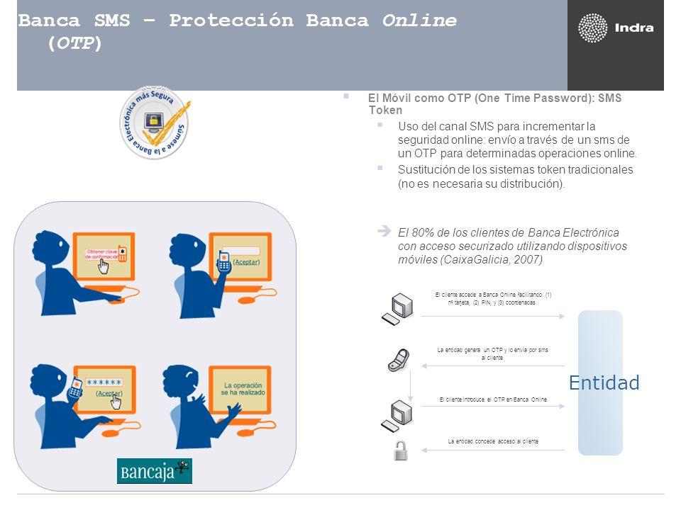 Banca SMS – Protección Banca Online (OTP) El Móvil como OTP (One Time Password): SMS Token Uso del canal SMS para incrementar la seguridad online: env