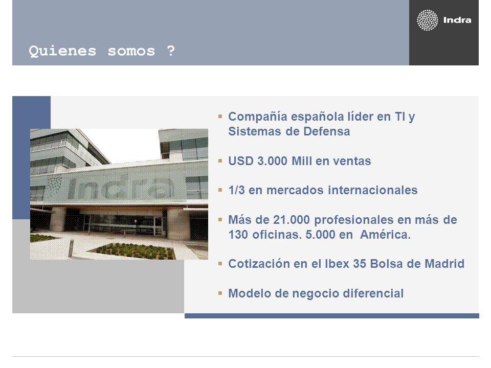 Quienes somos ? Compañía española líder en TI y Sistemas de Defensa USD 3.000 Mill en ventas 1/3 en mercados internacionales Más de 21.000 profesional