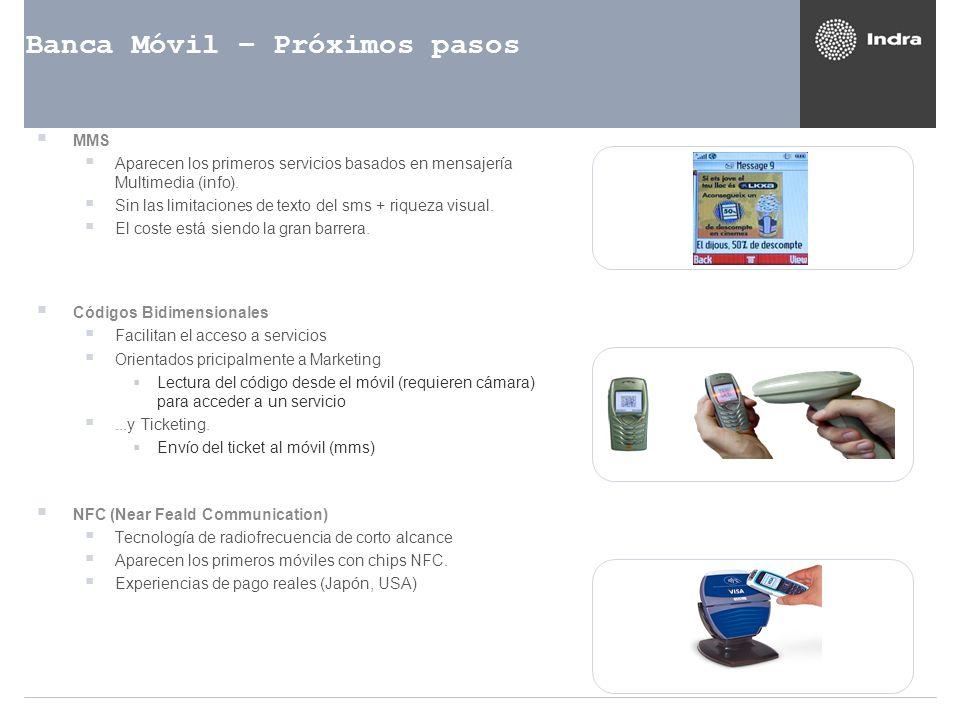 Banca Móvil – Próximos pasos MMS Aparecen los primeros servicios basados en mensajería Multimedia (info). Sin las limitaciones de texto del sms + riqu