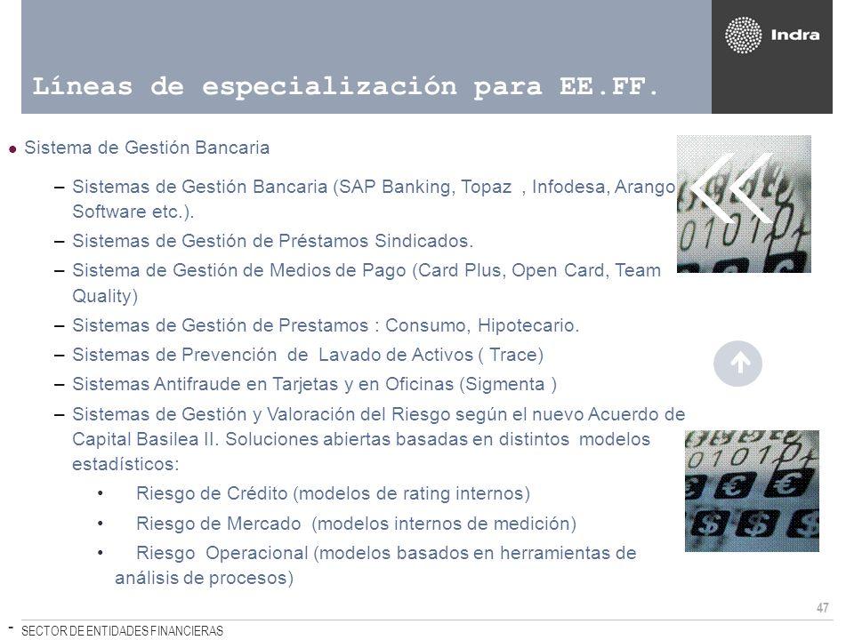 47 SECTOR DE ENTIDADES FINANCIERAS Líneas de especialización para EE.FF. Sistema de Gestión Bancaria –Sistemas de Gestión Bancaria (SAP Banking, Topaz