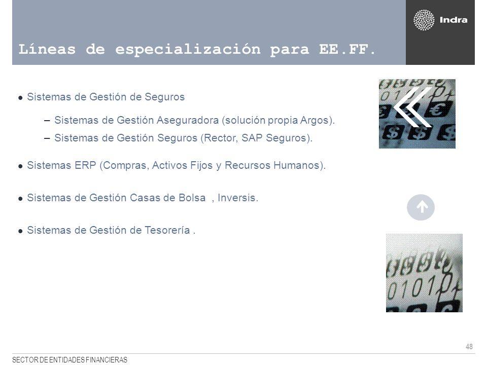 48 SECTOR DE ENTIDADES FINANCIERAS Líneas de especialización para EE.FF. Sistemas de Gestión de Seguros –Sistemas de Gestión Aseguradora (solución pro
