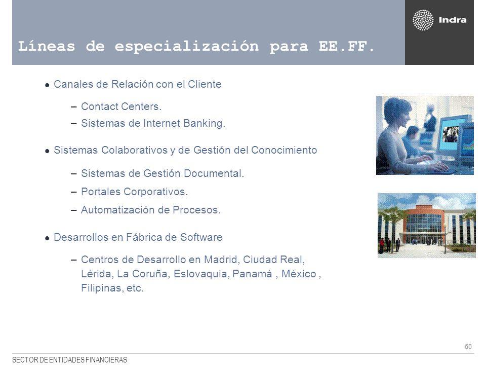50 SECTOR DE ENTIDADES FINANCIERAS Líneas de especialización para EE.FF. Canales de Relación con el Cliente –Contact Centers. –Sistemas de Internet Ba