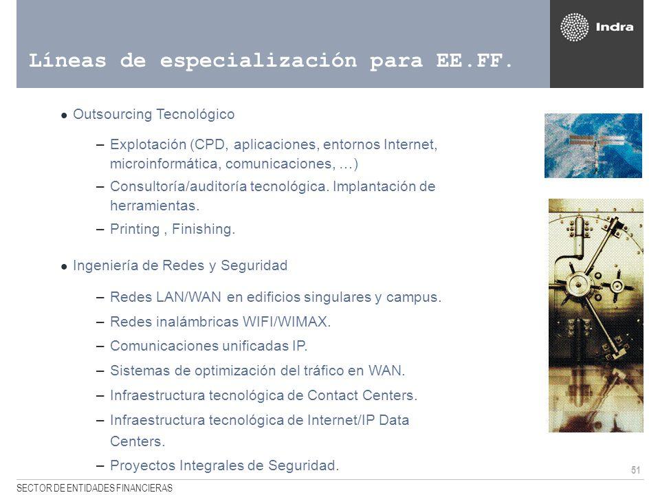 51 SECTOR DE ENTIDADES FINANCIERAS Líneas de especialización para EE.FF. Outsourcing Tecnológico –Explotación (CPD, aplicaciones, entornos Internet, m