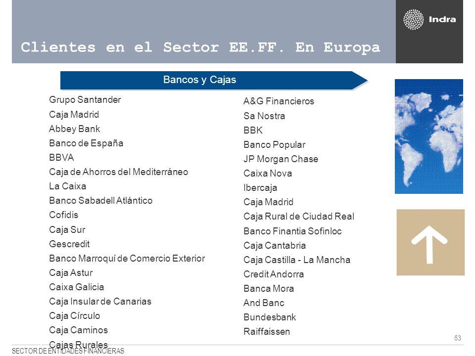 53 SECTOR DE ENTIDADES FINANCIERAS Clientes en el Sector EE.FF. En Europa Bancos y Cajas <Grupo Santander <Caja Madrid <Abbey Bank <Banco de España <B